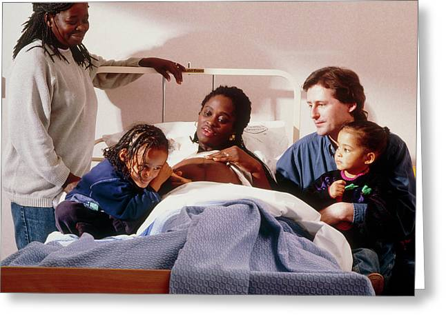 Pregnant Woman And Her Family On An Antenatal Ward Greeting Card by Ruth Jenkinson/midirs/science Photo Library