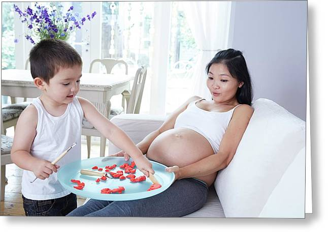 Pregnant Woman Playing With Son Greeting Card