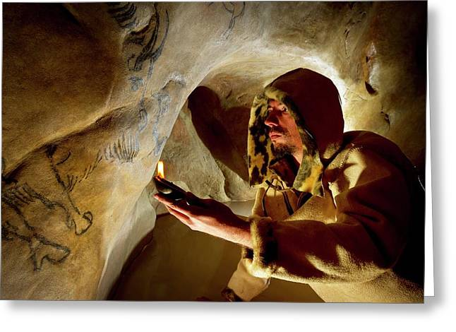 Prehistoric Cave Paintings Greeting Card by Philippe Psaila