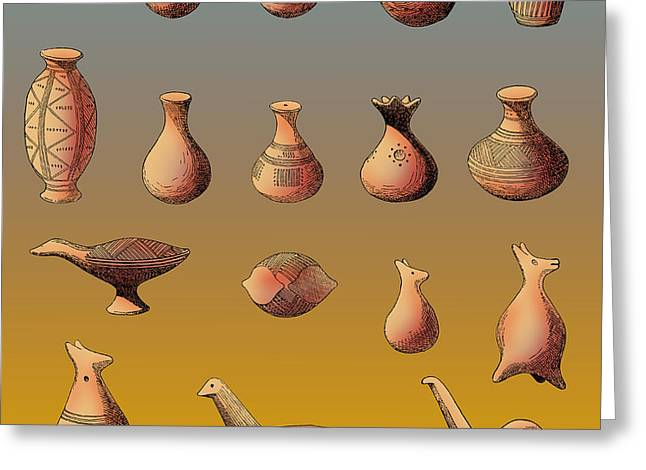 Prehistoric Clay Rattles Bronze Age Greeting Card by Photo Researchers