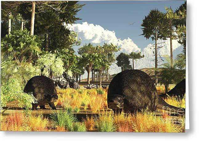 Prehistoric Glyptodonts Graze On Grassy Greeting Card