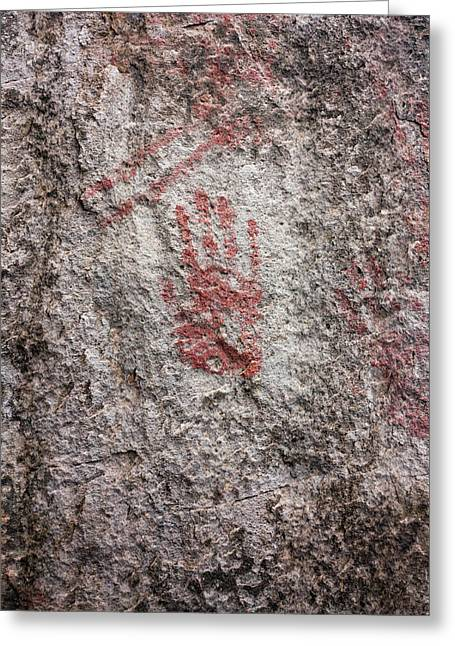Prehistoric Handprint Greeting Card by Daniel Sambraus