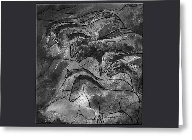 Prehistoric Horses Lascaux Cave Small Blue Grey Border Greeting Card