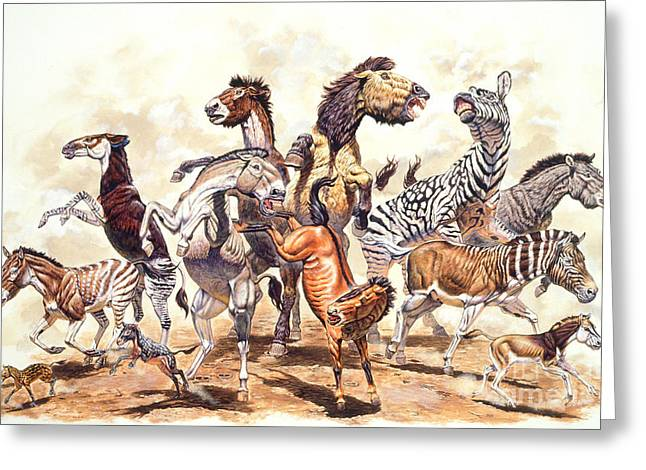 Prehistoric Horses Greeting Card by Mark Hallett Paleoart