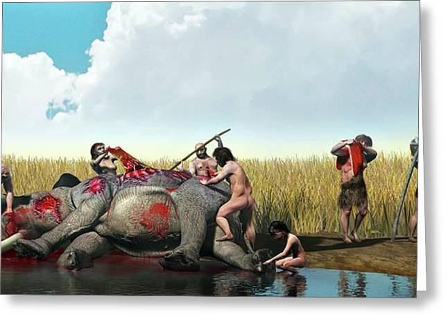 Prehistoric Hunting Greeting Card