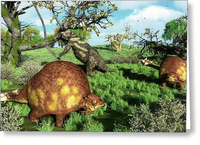 Prehistoric Mammals Greeting Card by Walter Myers