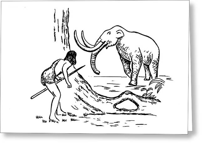 Prehistoric Man Hunting A Mammoth Greeting Card