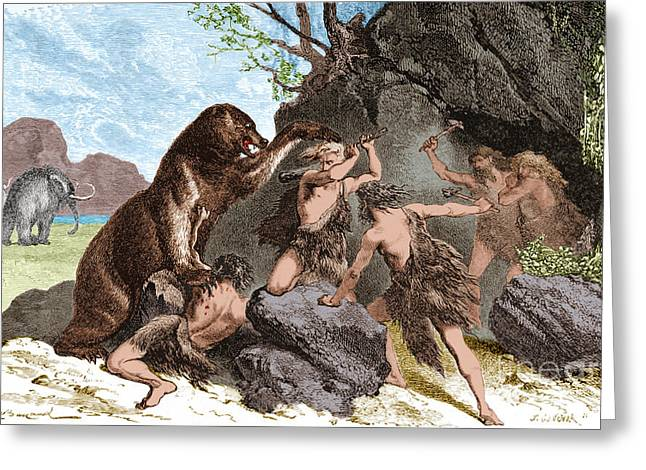 Prehistoric Men Battle Cave Bear Greeting Card by Science Source