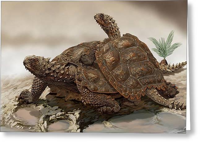 Prehistoric Turtles Greeting Card by Jaime Chirinos/science Photo Library