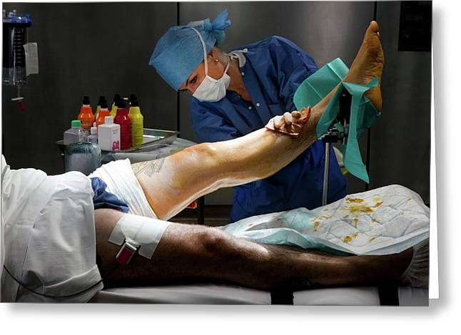 Preparation For Knee Surgery Greeting Card