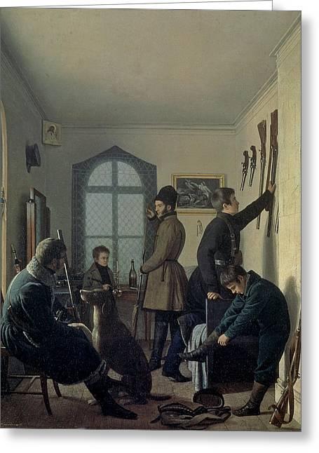 Preparations For Hunting, 1836 Greeting Card by Jevgraf Fiodorovitch Krendovsky