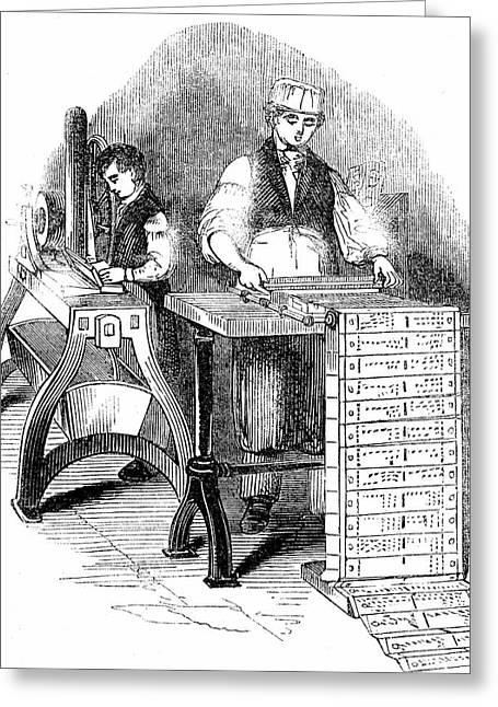 Preparing Cards For A Jacquard Loom Greeting Card by Universal History Archive/uig