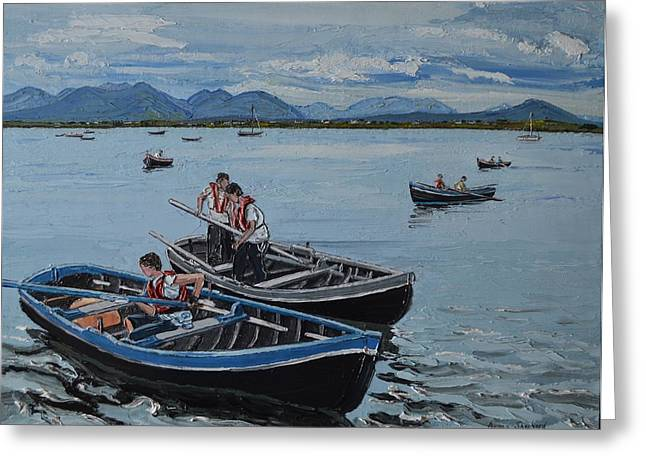 Preparing For The Currach Race Roundstone Ireland Greeting Card