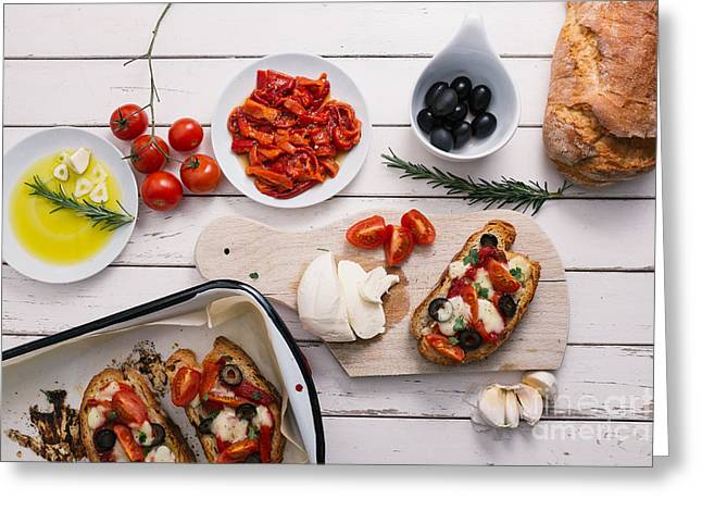 Preparing Italian Bruschetta Greeting Card by Viktor Pravdica
