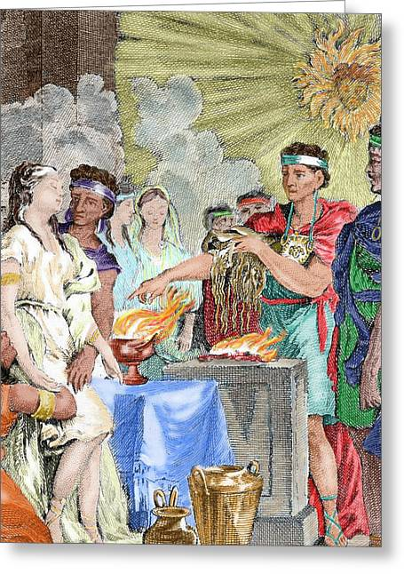 Presentation At The Inca Temple Greeting Card