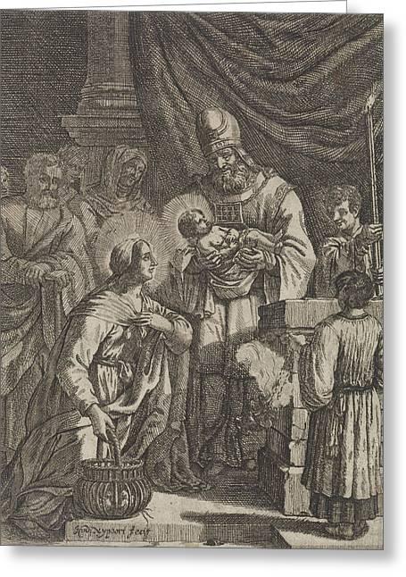 Presentation Of Christ In The Temple, Justus Van Den Greeting Card by Justus Van Den Nijpoort