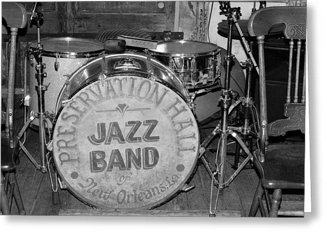 Preservation Hall Jazz Band Drum Bw Greeting Card