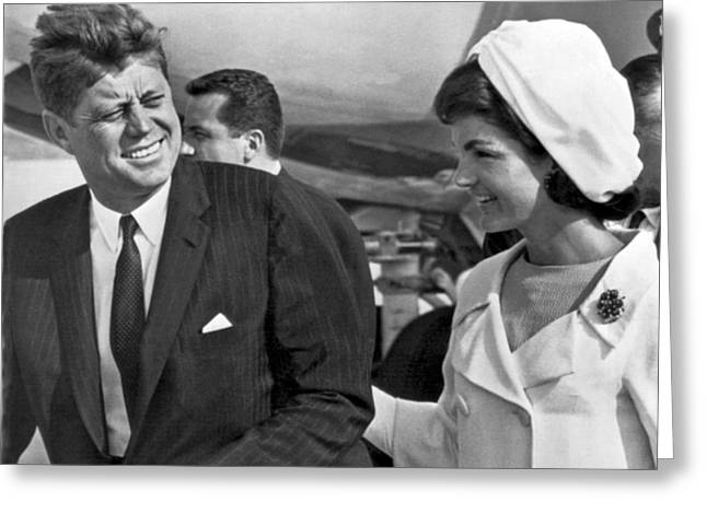 President And Mrs. Kennedy Greeting Card by Underwood Archives