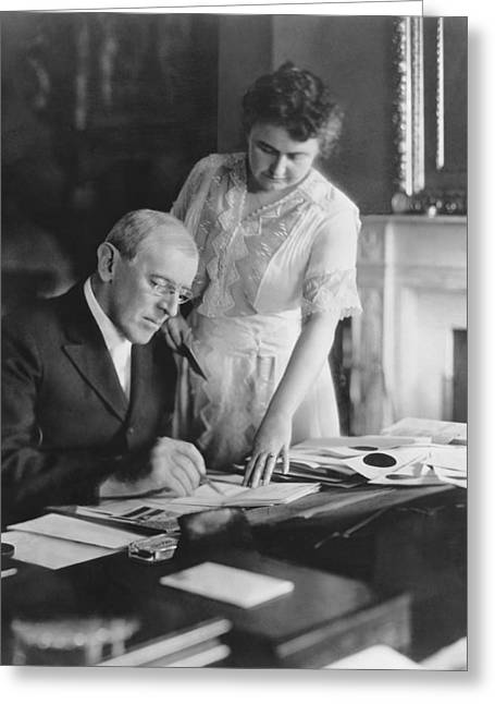 President And Mrs. Woodrow Wilson Greeting Card by Underwood Archives