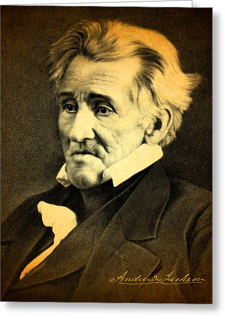 President Andrew Jackson Portrait And Signature Greeting Card