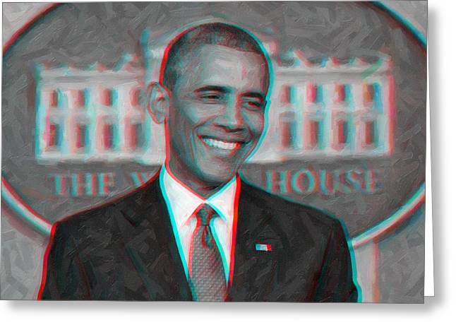 President Barack Obama In 3d Greeting Card by Celestial Images