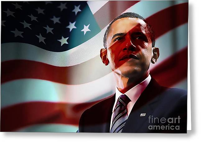 President Barack Obama Greeting Card by Marvin Blaine