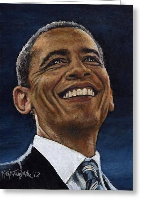 President Barack Obama Greeting Card by Neil Feigeles
