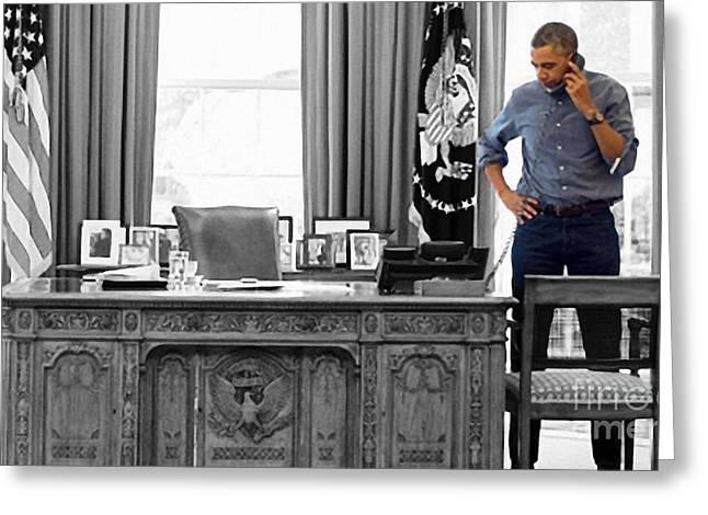 President Barack Obama Greeting Card by Doc Braham