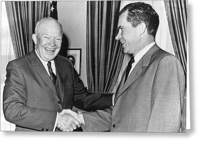 President Eisenhower And Nixon Greeting Card by Underwood Archives