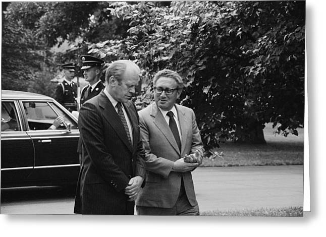 President Gerald Ford And Henry Kissinger 1974 Greeting Card by Mountain Dreams