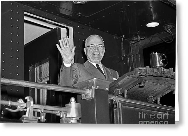 Greeting Card featuring the photograph Harry Truman 1952 by Martin Konopacki Restoration