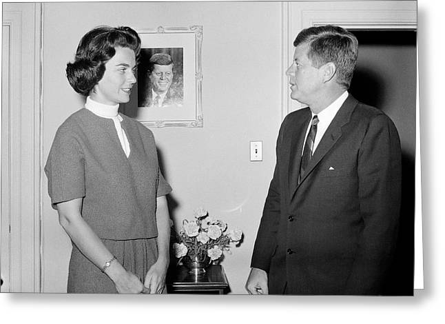 President John F. Kennedy With A Former Greeting Card by Stocktrek Images