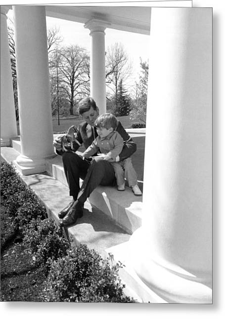 President Kennedy And John-john Greeting Card by Underwood Archives