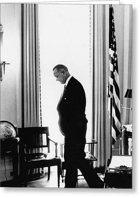President Lyndon Johnson Paces Greeting Card
