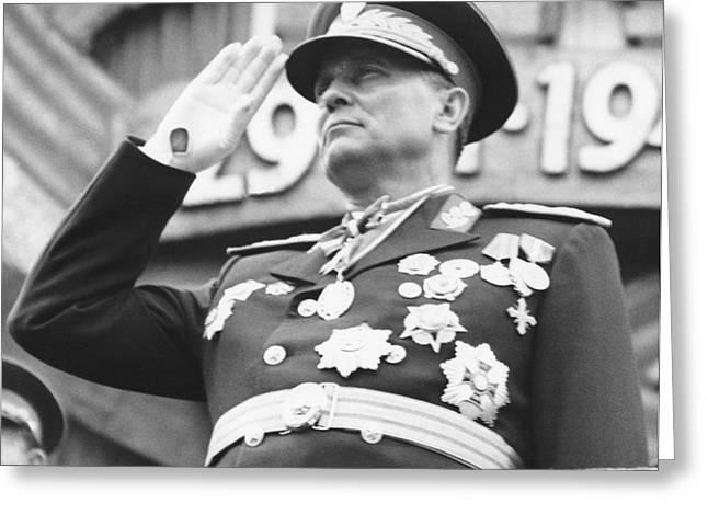 President Marshal Tito Salutes Greeting Card by Underwood Archives