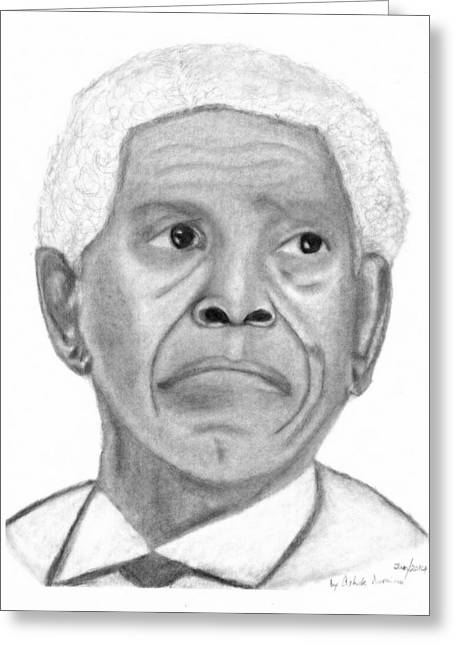 President Nelson Mandela Drawing Greeting Card by Ashok Naraian