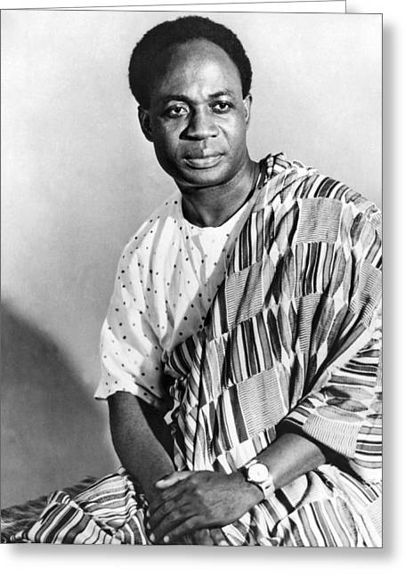 President Nkrumah Of Ghana. Greeting Card by Underwood Archives