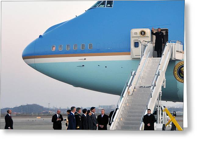 President Obama, Osan Air Base, Korea Greeting Card by Science Source