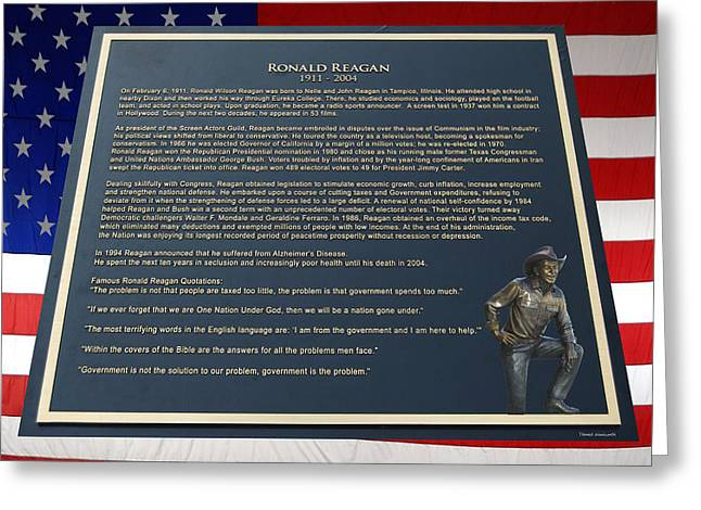 President Ronald Reagan Plaque Greeting Card by Thomas Woolworth