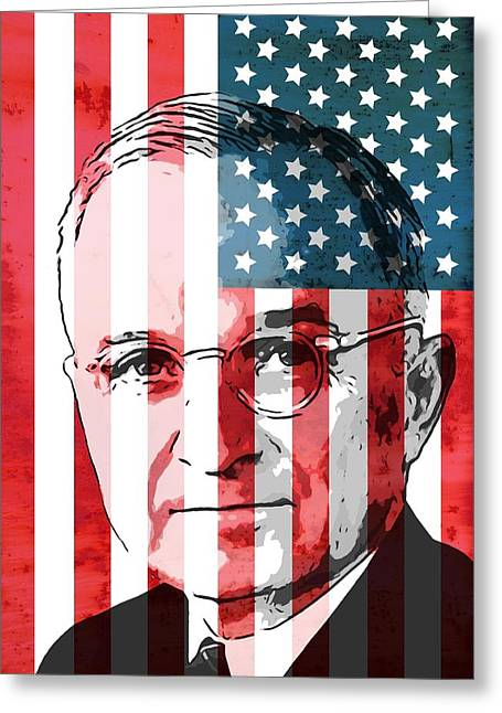 President Truman On American Flag Greeting Card by Dan Sproul