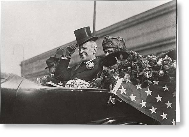 Greeting Card featuring the photograph President Woodrow Wilson 1919 by Martin Konopacki Restoration