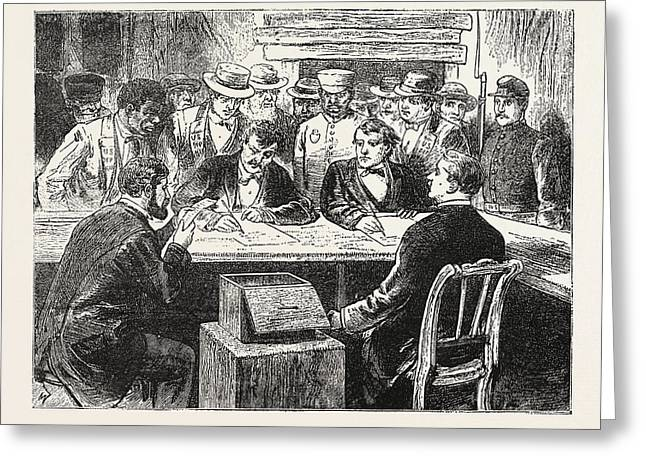 Presidential Election, Counting The Votes, Engraving 1876 Greeting Card