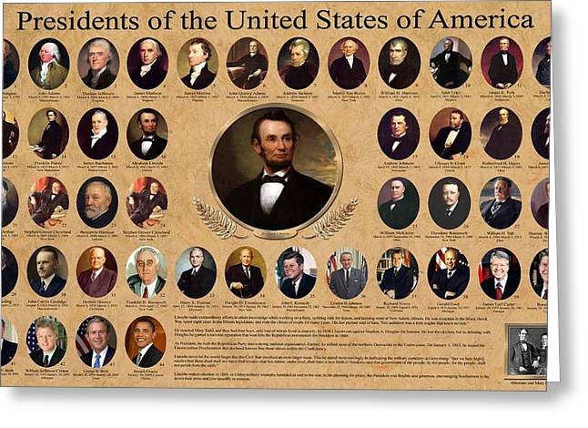 Presidents Of The United States Of America Greeting Card