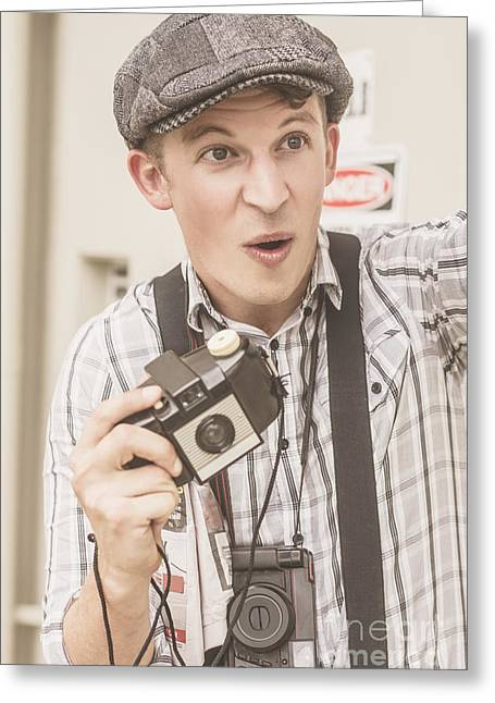 Press Photographer With Great Exposure Greeting Card