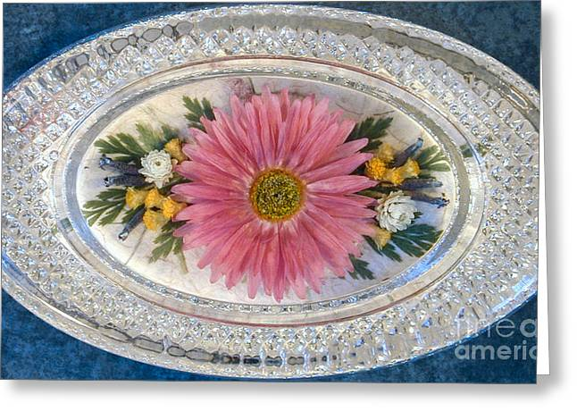 Pressed And Dried Flower Paperweight Greeting Card