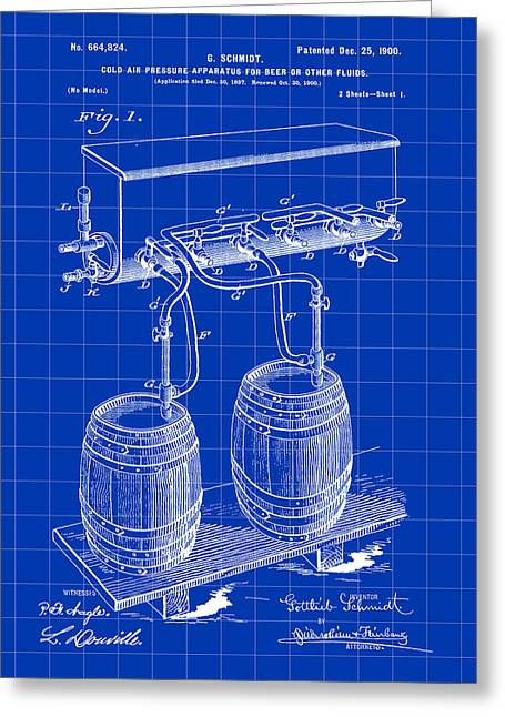 Pressure Apparatus For Beer Patent 1897 - Blue Greeting Card by Stephen Younts