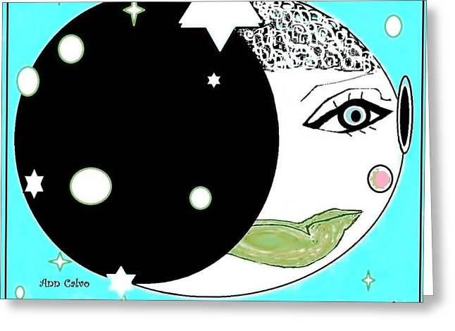 Greeting Card featuring the digital art Pretty Cheeky by Ann Calvo