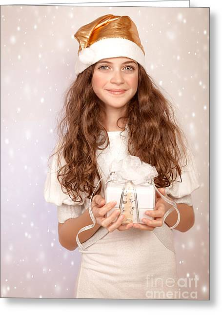 Pretty Girl Holding Gift Box Greeting Card by Anna Om