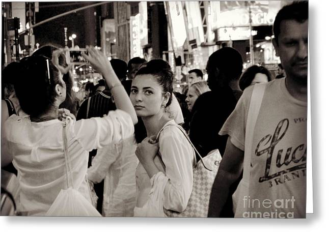 Pretty Girl In The Crowd - Times Square - New York Greeting Card by Miriam Danar