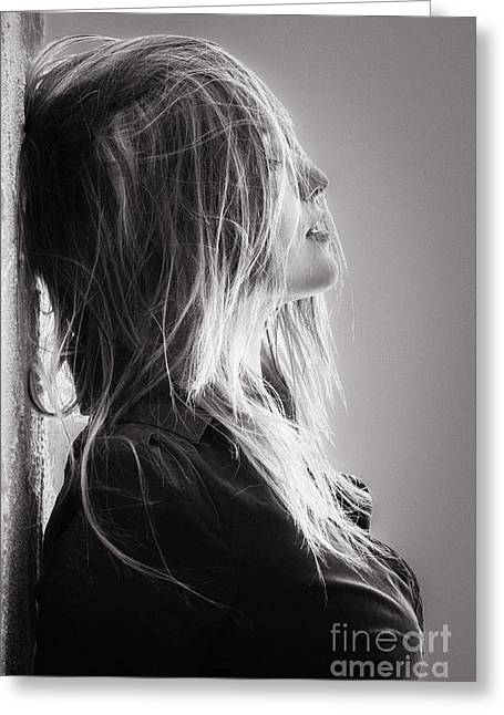 Pretty Girl With Hairs Greeting Card by Aleksey Tugolukov